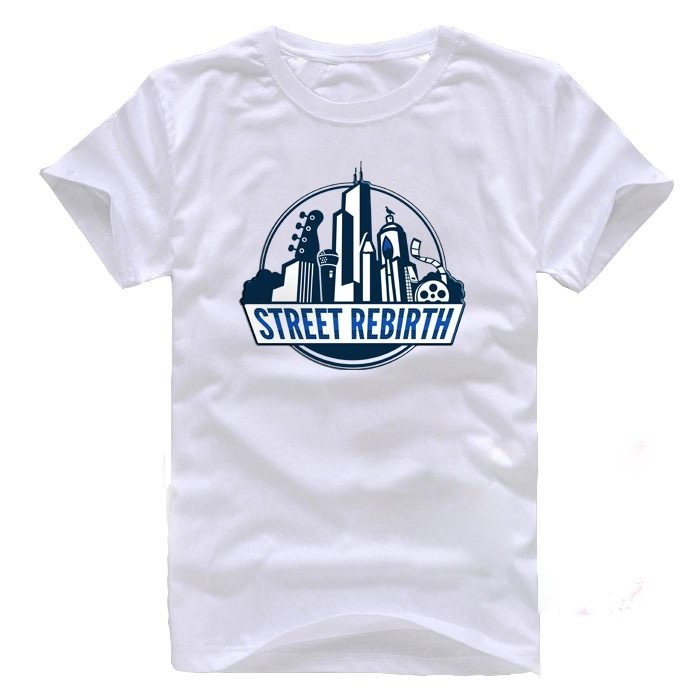 street rebirth white shirt blue logo