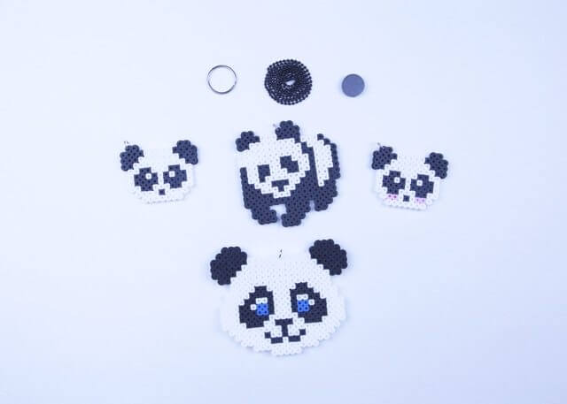 Panda Bear Keychain Necklace Magnet or Decorative Art To Hang